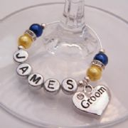 Groom Personalised Wine Glass Charm - Elegance Style